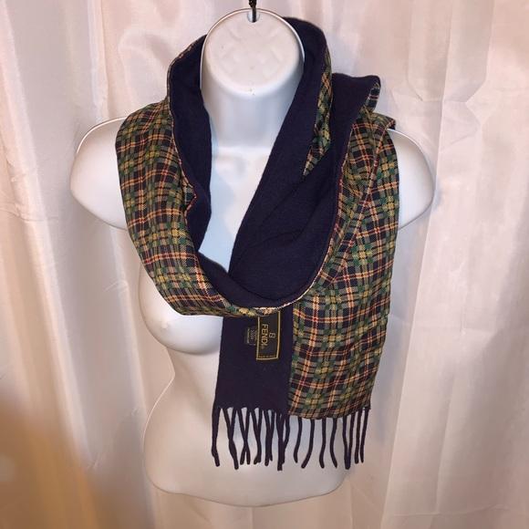 FENDI double faced SCARF silk & boiled wool